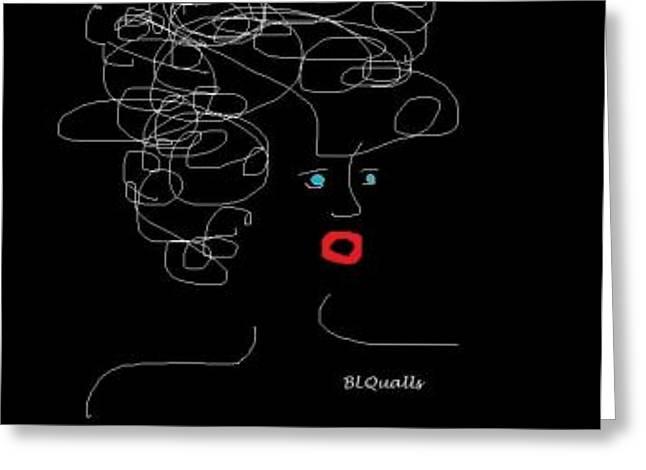 Pretend Self Portrait Greeting Card by B L Qualls