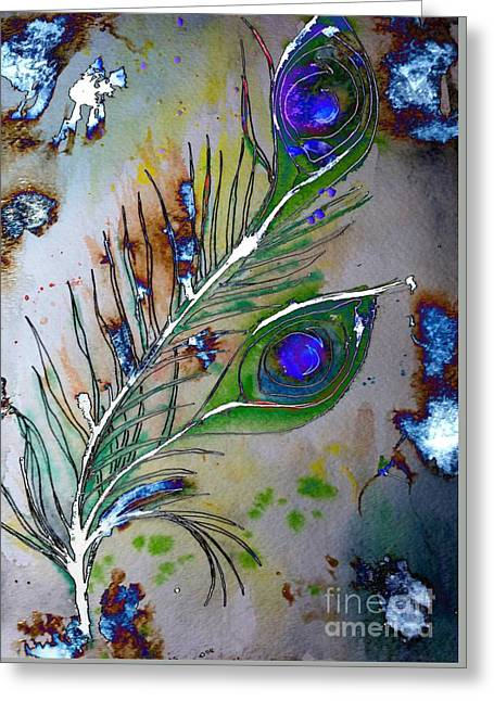 Greeting Card featuring the painting Pretty As A Peacock by Denise Tomasura