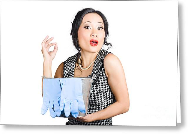Pretty Asian Lady Giving Ok Gesture To Clean Greeting Card by Jorgo Photography - Wall Art Gallery