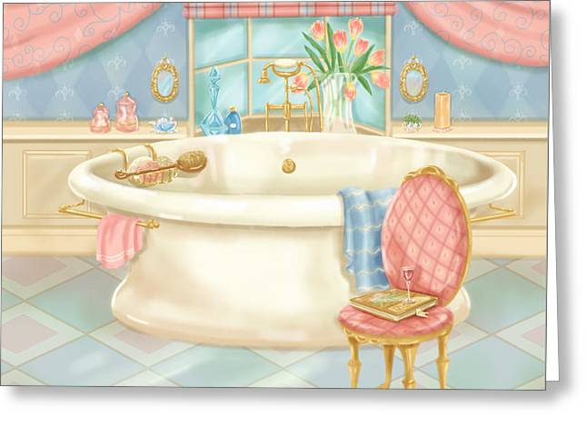 Pretty Bathrooms II Greeting Card by Shari Warren