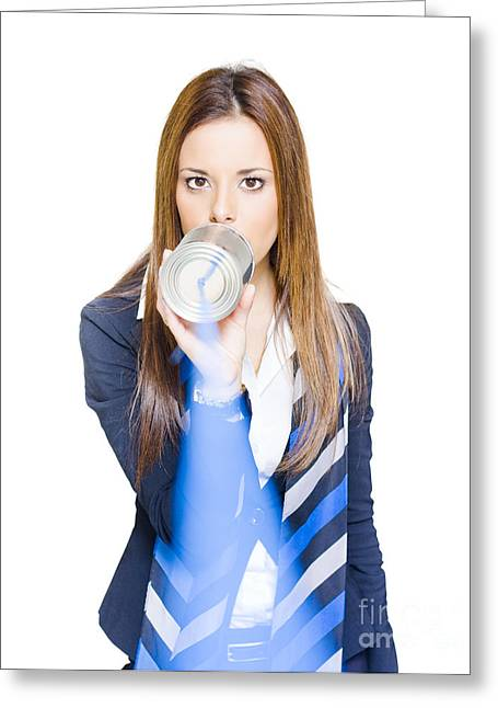 Pretty Business Woman Talking On Tin Can Phone Greeting Card