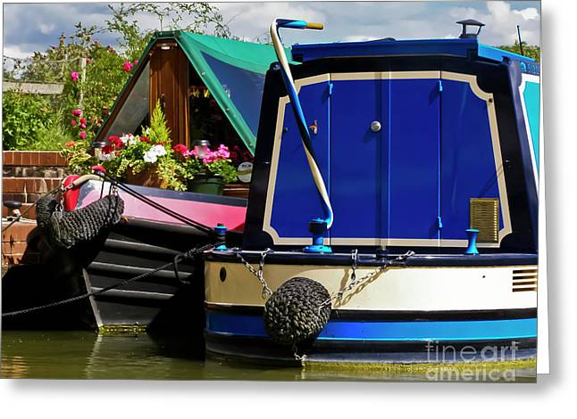 Pretty Canal Boats Greeting Card by Terri Waters