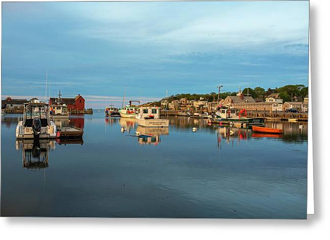 Pretty Colors On Rockport Harbor And Motif #1 Rockport Ma Greeting Card by Toby McGuire