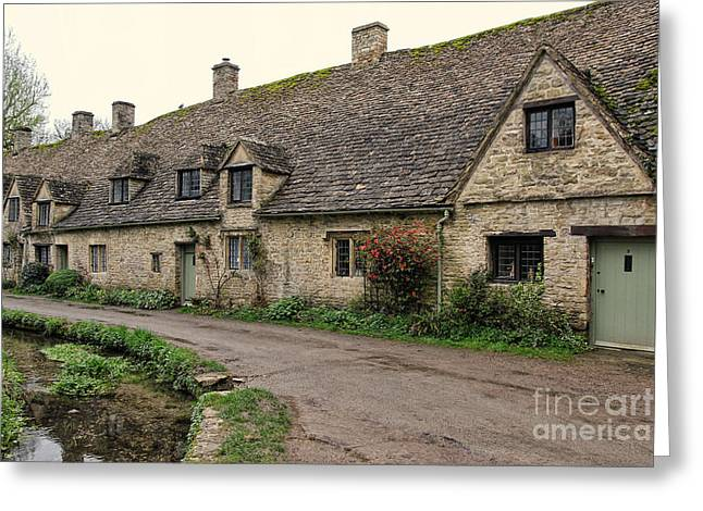 Pretty Cottages All In A Row Greeting Card by Jasna Buncic