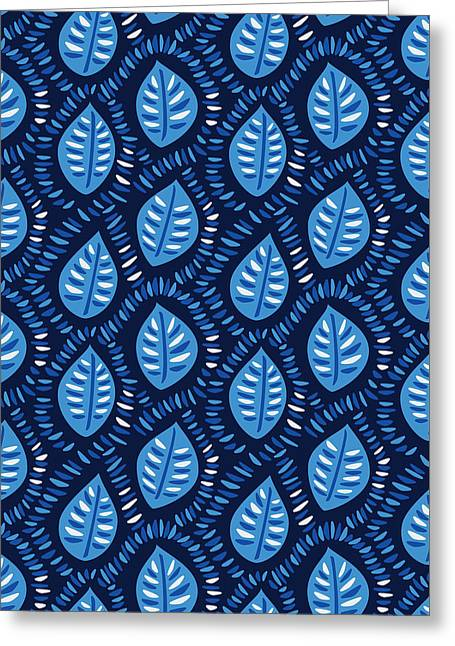 Pretty Decorative Blue Leaves Pattern Greeting Card