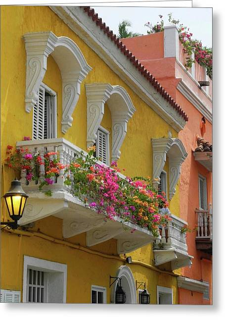 Pretty Dwellings In Old-town Cartagena Greeting Card
