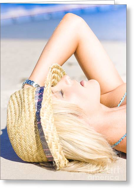 Pretty Female At Beach Greeting Card by Jorgo Photography - Wall Art Gallery