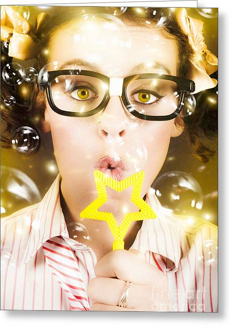 Greeting Card featuring the photograph Pretty Geek Girl At Birthday Party Celebration by Jorgo Photography - Wall Art Gallery