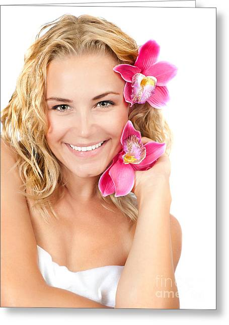 Pretty Girl With Pink Flowers Greeting Card