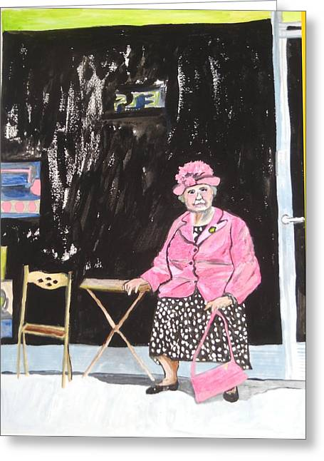 Greeting Card featuring the painting Pretty In Pink by Esther Newman-Cohen
