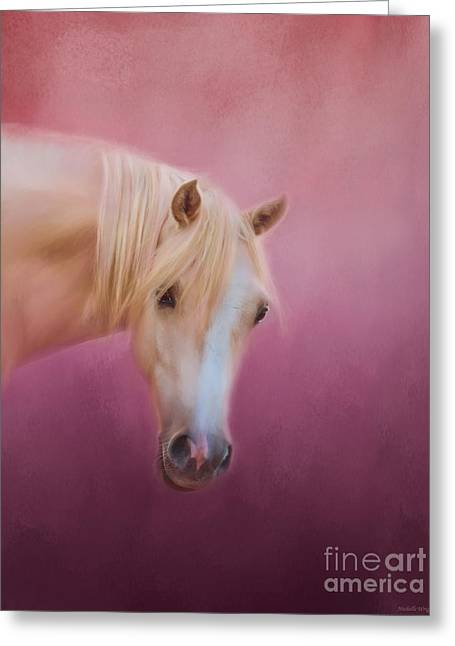 Pretty In Pink - Palomino Pony Greeting Card by Michelle Wrighton