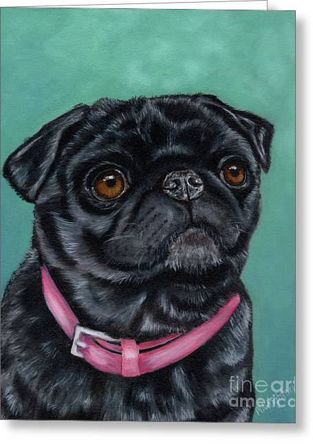 Pretty In Pink - Pug Dog Painting By Michelle Wrighton Greeting Card by Michelle Wrighton
