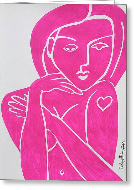 Pretty In Pink Tattoo Girl Poster Print  Greeting Card