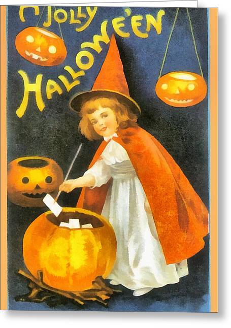 Pretty Little Witch In Red Greeting Card by Ellon Clapsaddle