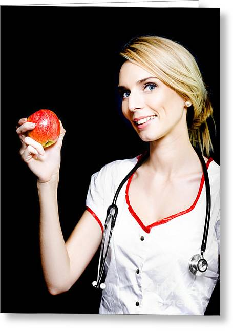 Pretty Nurse Shows The Benefits Of Eating Properly Greeting Card by Jorgo Photography - Wall Art Gallery