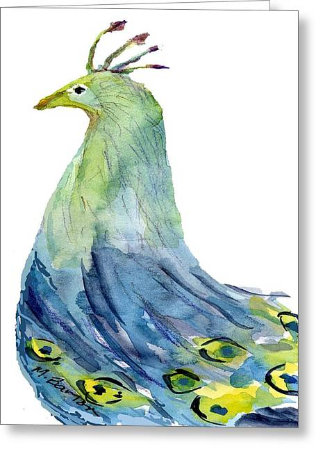 Pretty Peacock Greeting Card by Marilyn Barton