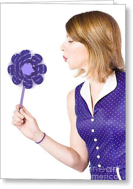 Pretty Pin Up Girl Playing With Purple Pinwheel Greeting Card