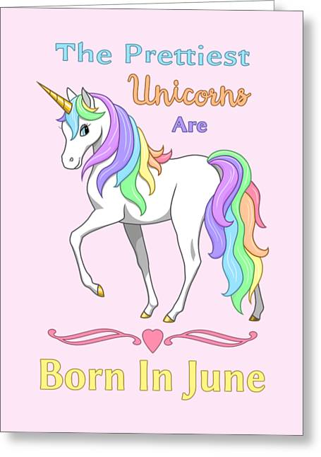 Greeting Card featuring the painting Pretty Rainbow Unicorn Born In June Birthday by Crista Forest