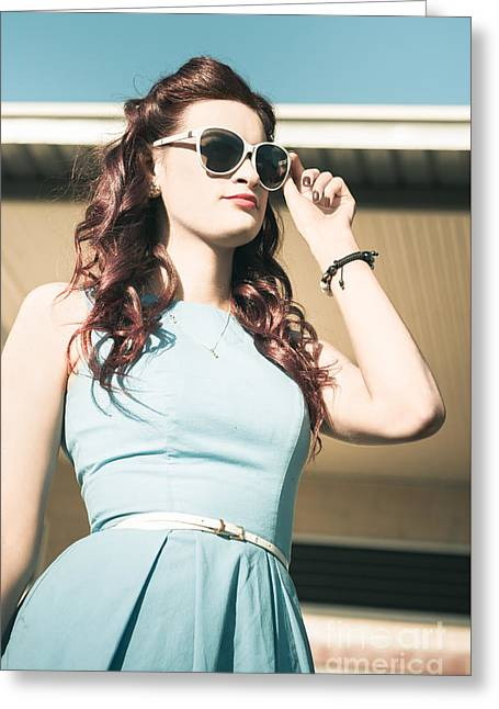 Pretty Retro Pin-up Woman In Blue Fifties Fashion Greeting Card by Jorgo Photography - Wall Art Gallery