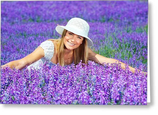 Enjoying Greeting Cards - Pretty woman on lavender field Greeting Card by Anna Omelchenko