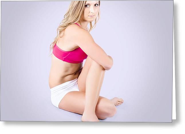 Pretty Yoga Woman Stretching On Grey Background Greeting Card