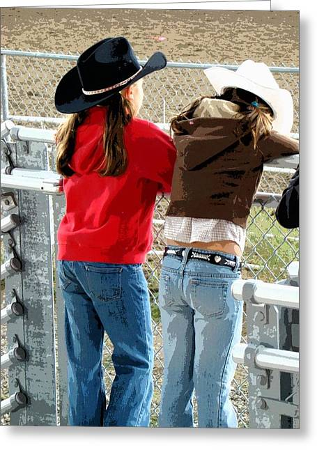 Hope You Enjoy . Greeting Cards - Pretty Young Cowgirls  Greeting Card by Al Bourassa
