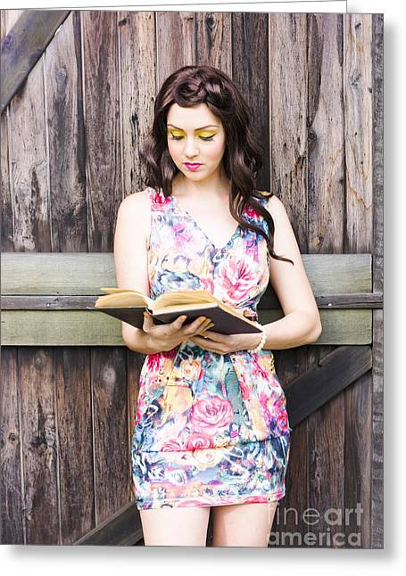 Pretty Young Woman Reading Book Greeting Card