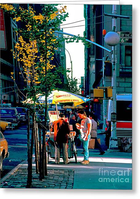 Hot Dog Stand Nyc Late Afternoon Ik Greeting Card