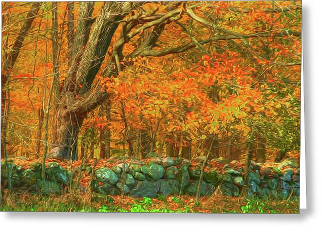 Preuss Road Stone Wall Greeting Card by Trey Foerster