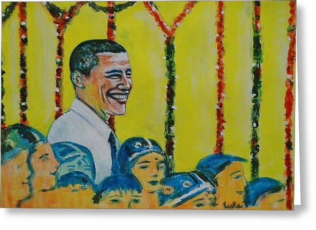 Prez Obama With Children Greeting Card by Usha Shantharam