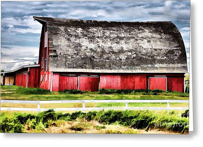 Red Roofed Barn Mixed Media Greeting Cards - Priaire Barn  Greeting Card by Elaine Manley