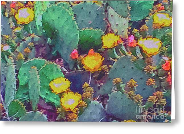 Prickly Pear Cactus 2 Greeting Card by Methune Hively