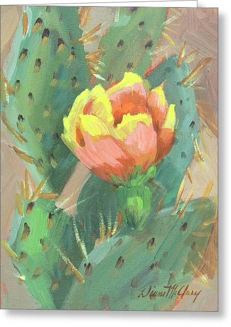 Greeting Card featuring the painting Prickly Pear Cactus Bloom by Diane McClary