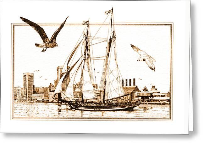 Pride Of Baltimore Greeting Card by John D Benson