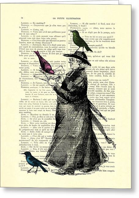 Priest And Birds Greeting Card