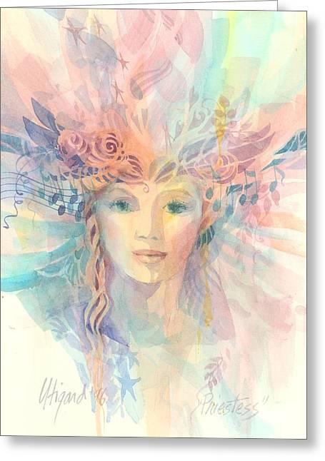 Priestess Greeting Card by Carolyn Utigard Thomas