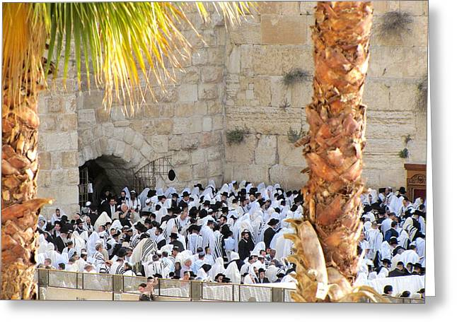 Prayer Of Shaharit At The Kotel During Sukkot Festival Greeting Card by Yoel Koskas