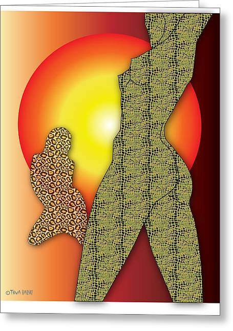 Primal Instincts Greeting Card by Tina Hariu