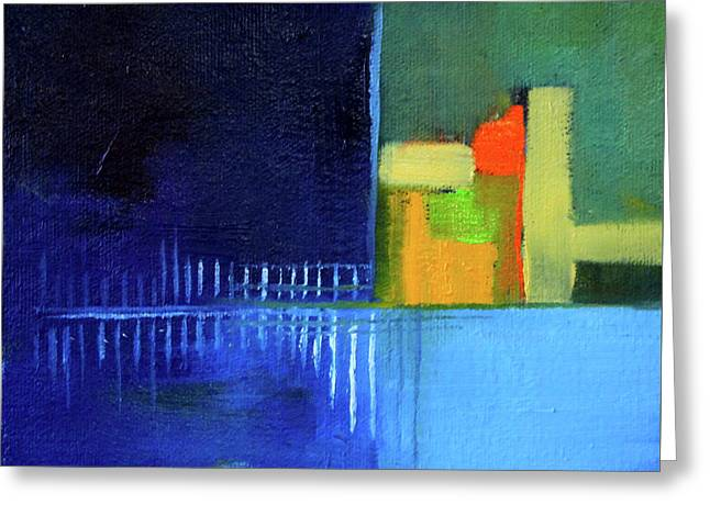 Greeting Card featuring the painting Primary Blue Abstract by Nancy Merkle