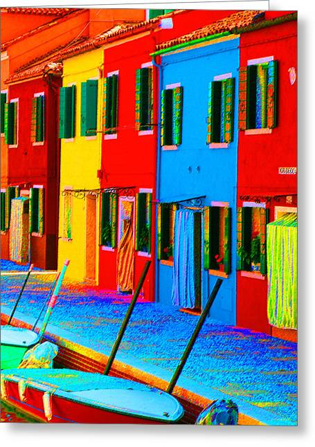 Greeting Card featuring the photograph Primary Colors Of Burano by Donna Corless