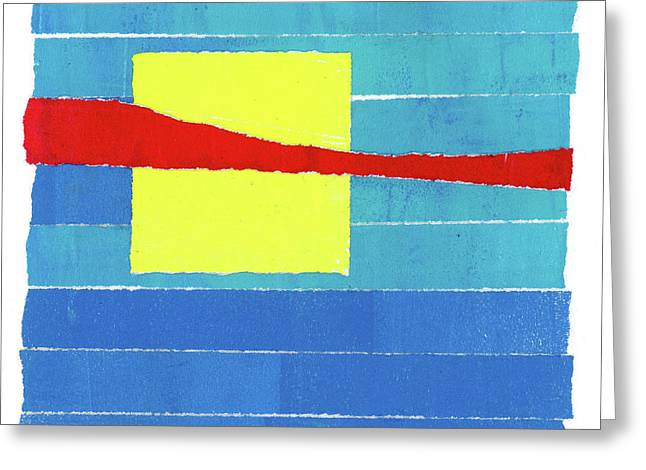 Primary Stripes Collage Greeting Card