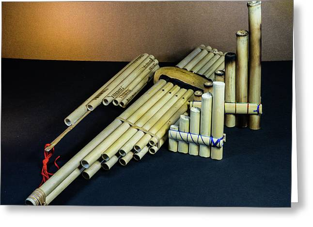 Primative Pan Pipes On Display Greeting Card by Douglas Barnett