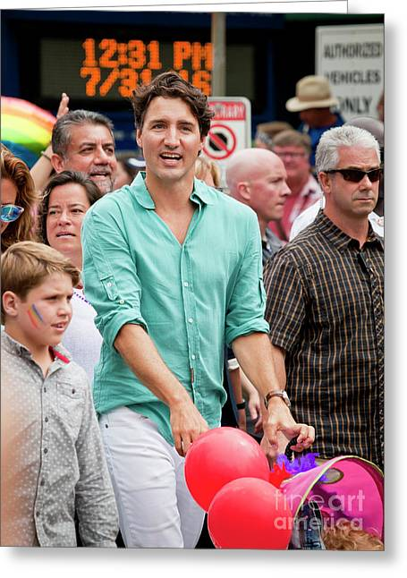 Greeting Card featuring the photograph Prime Minister Justin Trudeau by Chris Dutton
