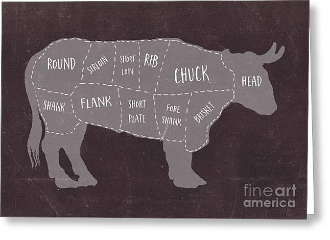 Primitive Butcher Shop Beef Cuts Chart Greeting Card