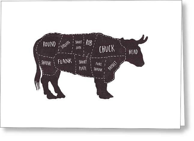 Primitive Butcher Shop Beef Cuts Chart T-shirt Greeting Card by Edward Fielding