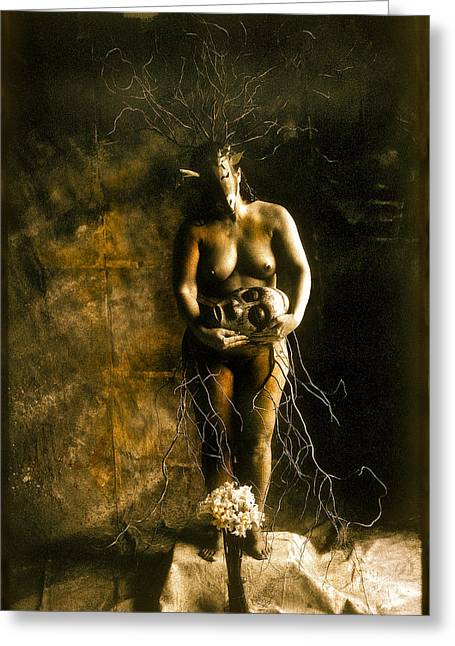 Primitive Woman Holding Mask Greeting Card