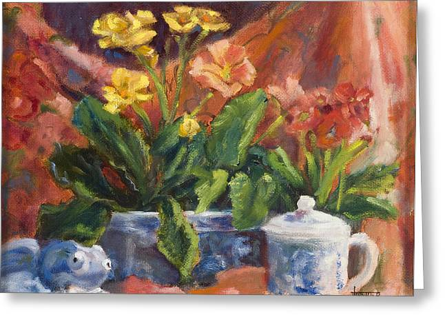 Primroses And Blue China Greeting Card by Jimmie Trotter