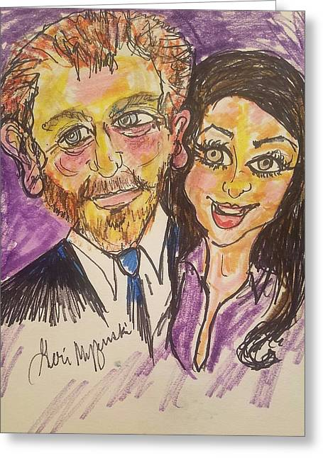 Prince Harry Meghan Markle Greeting Card by Geraldine Myszenski