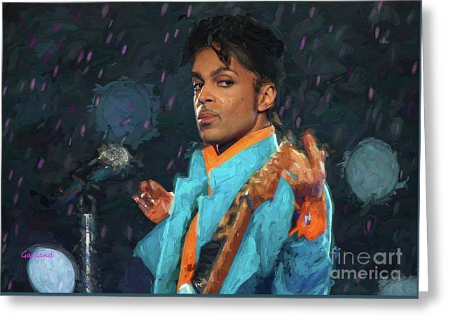 Prince In Concert At The Super Bowl Greeting Card