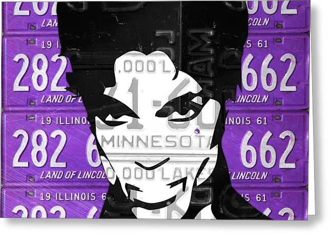Prince Musician Portrait Made From Vintage Recycled Minnesota And Purple License Plates Greeting Card by Design Turnpike